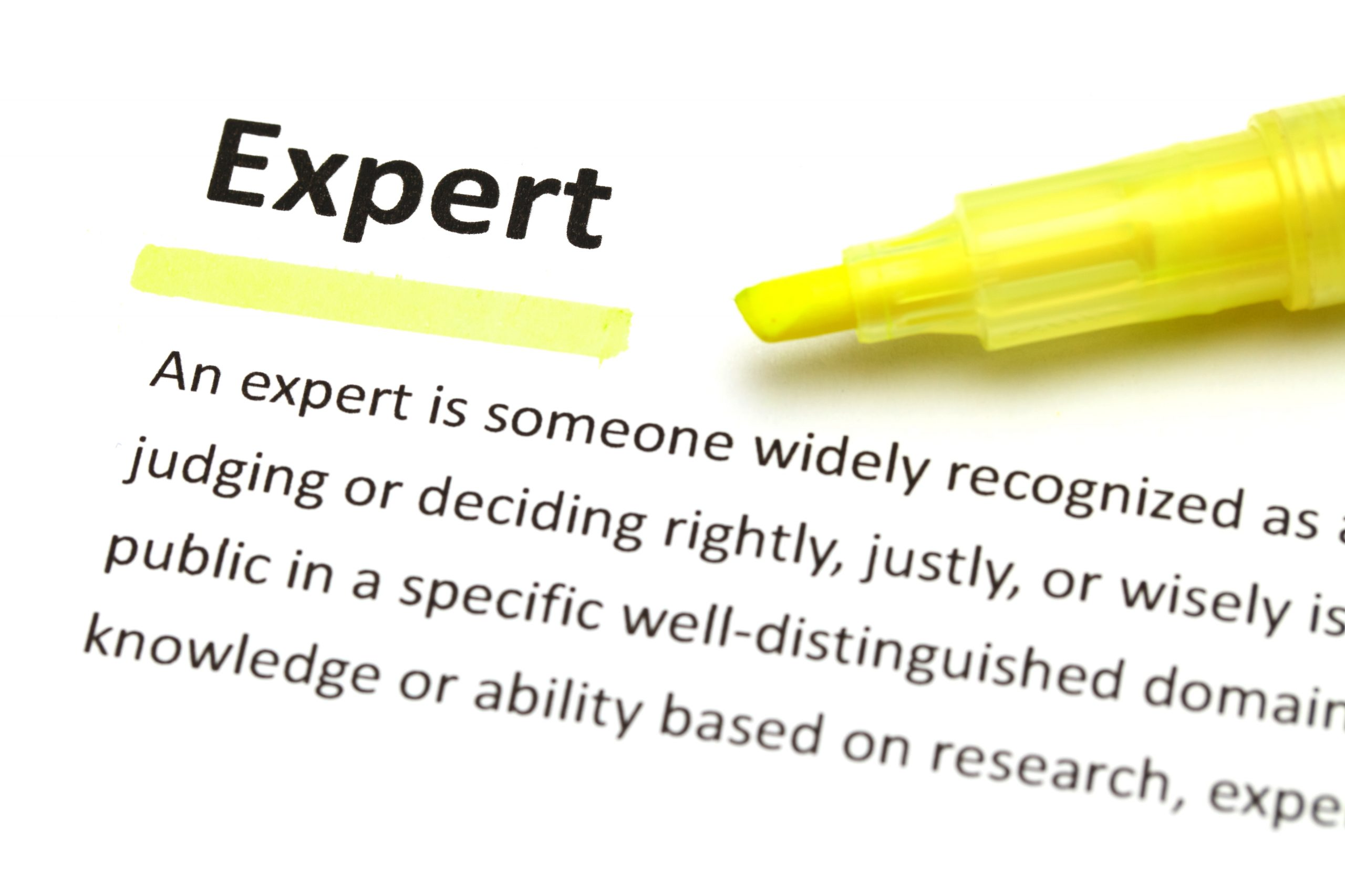 Yellow marker on expert word